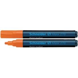 Popisovač lakový Schneider 270, kul. hrot, 1-3 mm, oranžový