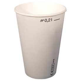 Pappbecher 0,2 Liter weiß mit Eichstrich