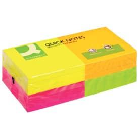 Bloček samolepicí Q-Connect, intenzivní barvy žlutá, růžová, zelená a oranžová 76x76mm, balení obsahuje 12 bločků