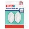 Háček samolepící tesa® Permanent, oválný, plastový, bílý, 2 ks