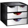 """VÝPRODEJ Zásuvkový box """"Take a Break"""", 2 malé a 2 velké zásuvky, černá/metalická šedá"""