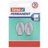 Háček samolepící tesa® Permanent, oválný, ocelový, stříbrný, 2 ks