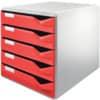 Schubladenbox 5 Laden rot LEITZ 5280-00-25