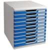 Schubladenbox 10 Laden l.gr/bl EXACOMPTA 302003D System 2