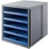 Schubladenbox 5Lad.offen grau/bl. HAN 14018-16