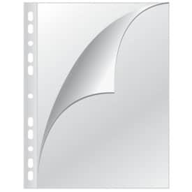 Q-CONNECT Prospekthüllen mit Lochrandverstärkung - oben und links offen, glasklar, 0,15 mm, A4, 100 Stück