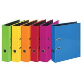 Veloflex® Ordner VELOCOLOR®, glanzkaschierte Pappe/schwarzer Innenspiegel, A4, sortiert