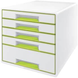 5214 Schubladenbox WOW CUBE - A4/C4, 5 geschlossene Schubladen, perlweiß/grün metallic