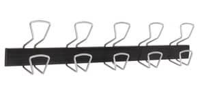 Appendiabiti da parete Alba in metallo e plastica colore nero 5 ganci - PMPRO5M Immagine del prodotto