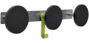 Appendiabiti da parete Alba metallo e ABS 3 ganci - Grigio argento - PMS3 Immagine del prodotto