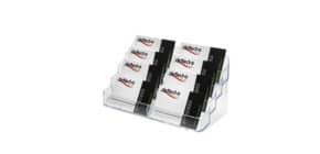 Portabiglietti da visita da tavolo deflecto® in polistirene 8 scomparti trasparente 20x9,5x9,8 cm - 70801 Immagine del prodotto