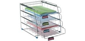 Set portacorrispondenza ALBA 4 vaschette estraibili e 2 gommini antiscivolo metallo cromato modello frontale - COR4F Immagine del prodotto