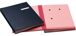 Libro firma 18 intercalari FRASCHINI 24x34 cm in dermoide con porta etichetta intercambiabile blu - 618-D-DB Immagine del prodotto