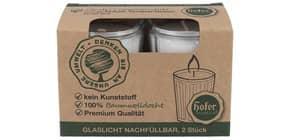 Grabkerze Glas nachfüllbar weiß 2er Produktbild