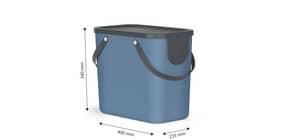 Cestino impilabile per raccolta differenziata Rotho Albula 2 maniglie blu 25 L - F707533 Immagine del prodotto