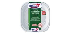 Stoviglie monouso Dopla piatti quadrati 700 gr polistirolo bianco conf.53 - 01464 Immagine del prodotto