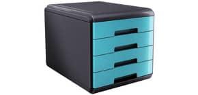 Cassettiera 4 cassetti ARDA Mydesk polistirolo e materiale infrangibile grigio/turchese - 18P4PTU Immagine del prodotto