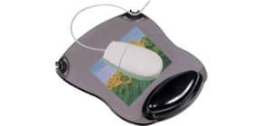 Tappetino per mouse Q-Connect con poggiapolsi in gel 22x26x2,8 cm grigio trasparente - KF20084 Immagine del prodotto