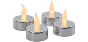 Teelicht LED 4 Stück silber Produktbild