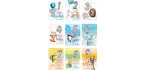 Geburtstagskarte Zahl Kinder 1-9 sort. 52-3319 Balloon Party Produktbild