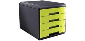 Cassettiera 4 cassetti ARDA Mydesk polistirolo e materiale infrangibile grigio/verde - 18P4PV Immagine del prodotto