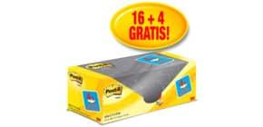 Foglietti riposizionabili Post-it® Notes giallo Canary™ 76x76 mm Value Pack 16+4 blocchetti GRATIS - 654-VP20 Immagine del prodotto