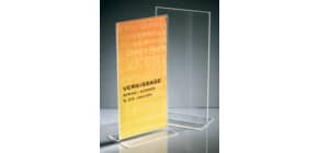 Tischaufsteller DIN lang glaskar Acryl SIGEL TA224 gerade Standfüße Produktbild