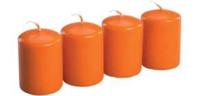 Stumpenkerze zu 4 orange Produktbild