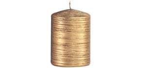 Weihn.Stumpenkerze gebürstet gold Produktbild