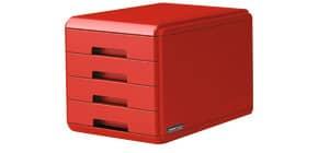 """Cassettiera 4 cassetti ARDA """"Rosso Italia Collection"""" polistirolo e materiale infrangibile rosso - 18P4PRIR Immagine del prodotto"""
