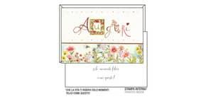 """Biglietti augurali Kartos """"Auguri"""" fiori rosa e lilla 07548001B Immagine del prodotto"""