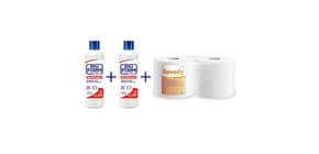 Kit 2x Disinfettante superfici Bioform Plus 1 L e da 1x Bobine asciugatutto Speedy Lucart (2 rotoli) Immagine del prodotto
