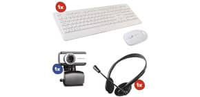 Kit 1x Webcam M-MEA250+ 1x Set Mouse/tastiera Wireless Combo NX971 + 1x Cuffie con microfono Immagine del prodotto