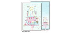 """Biglietti augurali Kartos """"Buon Compleanno"""" torta con festoni 11,7x17 cm 07312302A Immagine del prodotto"""