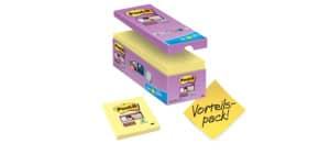 Foglietti Post-it® Super Sticky Giallo Canary™ cf 14 blocchetti + 2 gratis da 90 ff - 654SSCY-VP16 Immagine del prodotto