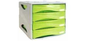 Cassettiera 4 cassetti ARDA Smile polistirolo antiurto e materiale infrangibile grigio/verde - TR15P4PV Immagine del prodotto