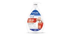 Gel igienizzante mani a base alcolica Sanitec Sani Gel Alcol 70% - trasparente - flacone 600 ml, con dosatore - 1033 Immagine del prodotto