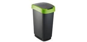 Cestino gettacarte Rotho con coperchio basculante nero/verde - 50 l F600028 Immagine del prodotto