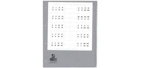 Ordnerregister 20tl Polypropylen A4 grau mit Tab+ÜB Q-CONNECT KF01856 Produktbild