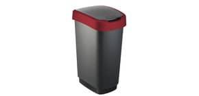 Cestino gettacarte Rotho con coperchio basculante nero/rosso - 50 l F600027 Immagine del prodotto
