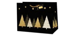 Geschenktragetasche Bäume schwarz/gold 220-524 TL 13,7x33x26cm Produktbild