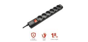 Multipresa a 6 porte con interruttore Trust Surge Protector 1.8 m nero 21061 Immagine del prodotto