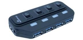 Hub Media Range USB 3.0 con quattro porte con interruttori separati e alimentatore - MRCS505 Immagine del prodotto