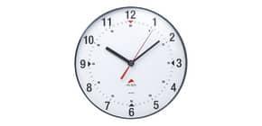 Orologio da parete Alba lente plastica numeri neri su sfondo bianco. Lancetta secondi rossa, pile LR6/AA - HORCLAS Immagine del prodotto
