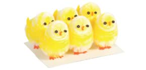 Chenille-Küken 6 Stück mini gelb Produktbild