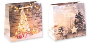 Weihn.Geschenktragetasche 2ST sort. 06-0382 16x16x7,5cm Produktbild