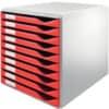 Leitz 5281 Schubladenset Formular-Set - A4/C4, 10 geschlossene Schubladen, lichtgrau/rot