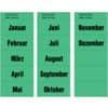 Inhaltsschilder Monatsnamen - Beutel mit 96 Stück (= 8x12 Monate), grün