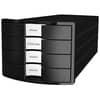 HAN Schubladenbox IMPULS - A4/C4, 4 geschlossene Schubladen, schwarz