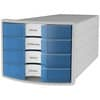HAN Schubladenbox IMPULS - A4/C4, 4 geschlossene Schubladen, lichtgrau/transluzent-blau